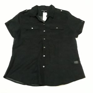 BananaRepublic Button down Top Rolled short sleeve